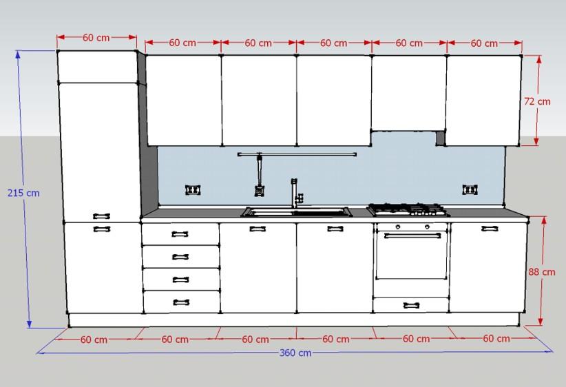 Misure della Cucina H215: larghezza e altezza