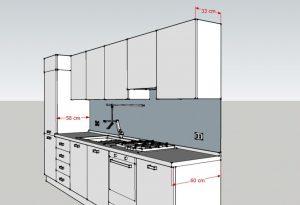 Misure della Cucina H215: profondità