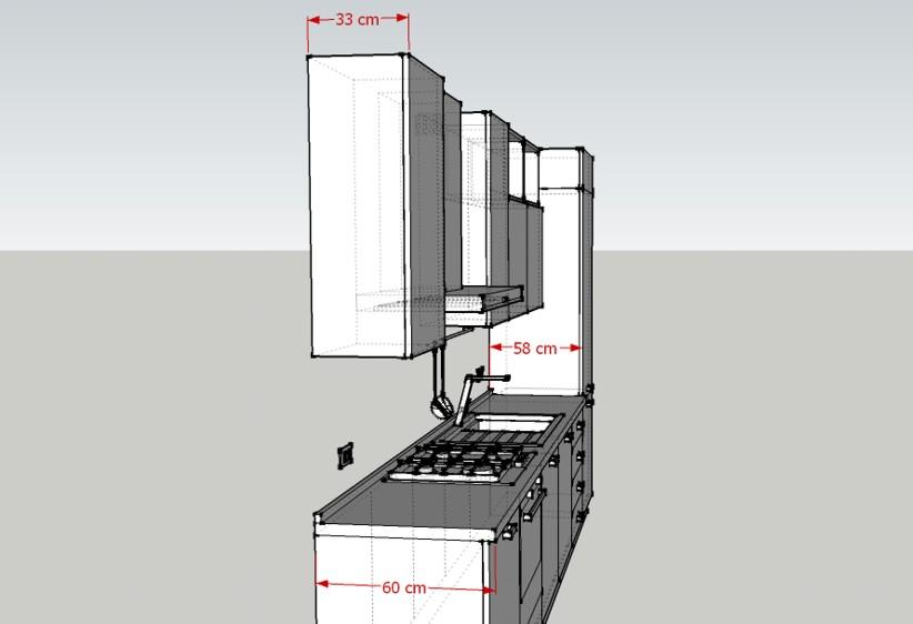 Misure della Cucina H240: profondità