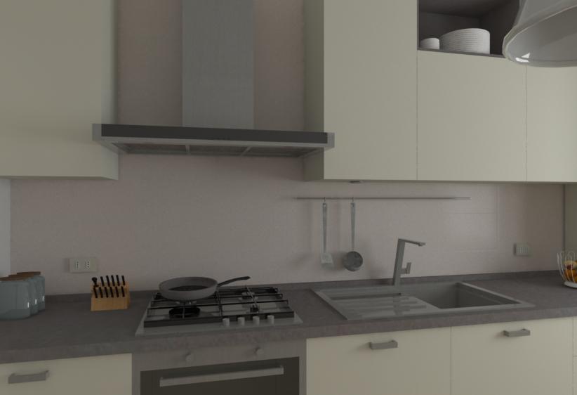 Dettaglio della Cucina H240: piano cottura, cappa, lavello con miscelatore, tubo portamestoli