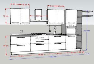 Misure della Cucina L360: larghezza e altezza