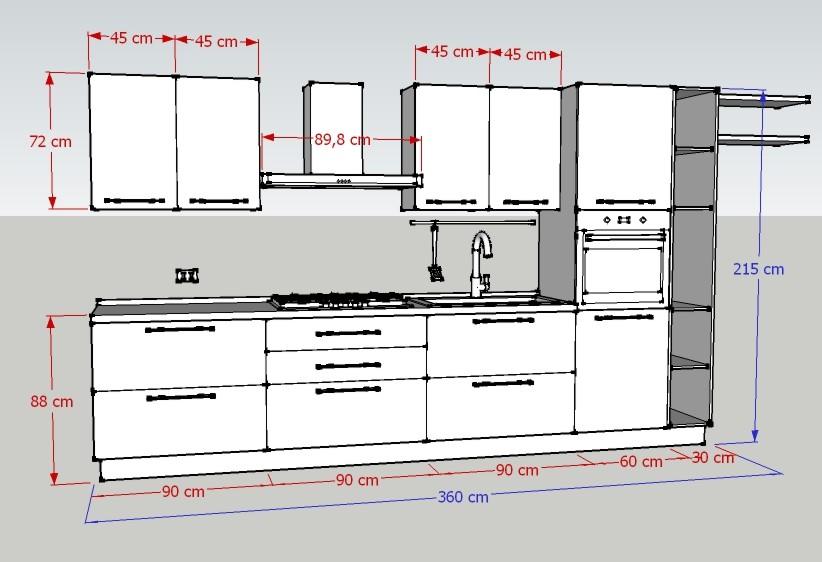 Promozione cucina l360 luigi fontana arredamenti lissone - Larghezza mobili cucina ...