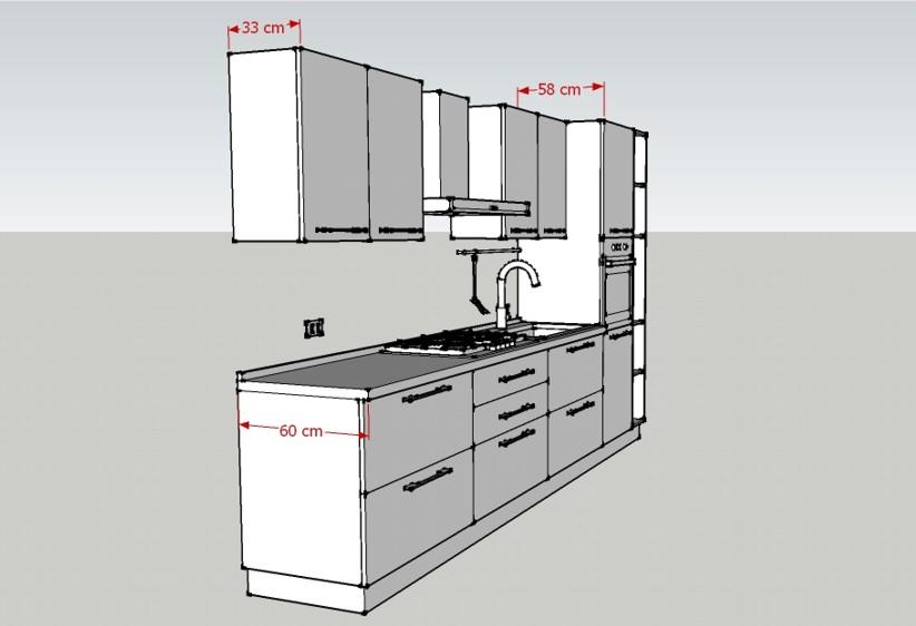 Misure della Cucina L360: profondità