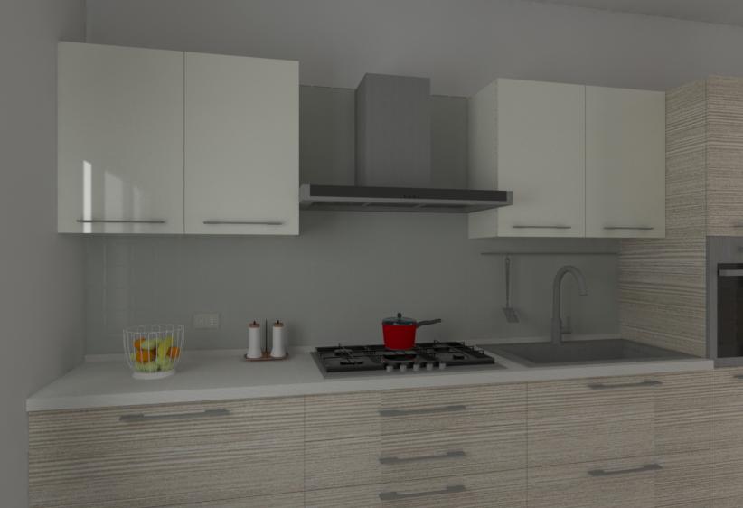 Dettagli della Cucina L360: piano cottura, cappa, lavello con miscelatore, tubo portamestoli