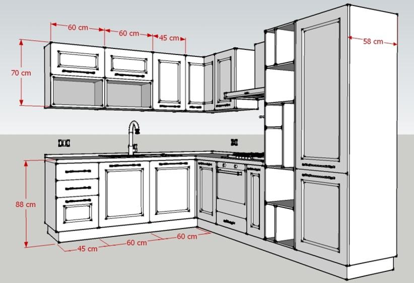 Misure della Cucina angolare Corner: larghezza e altezza lato corto, profondità colonna frigo