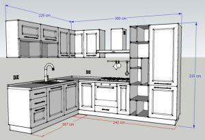 Misure generali della Cucina angolare Corner: larghezza e altezza complessive